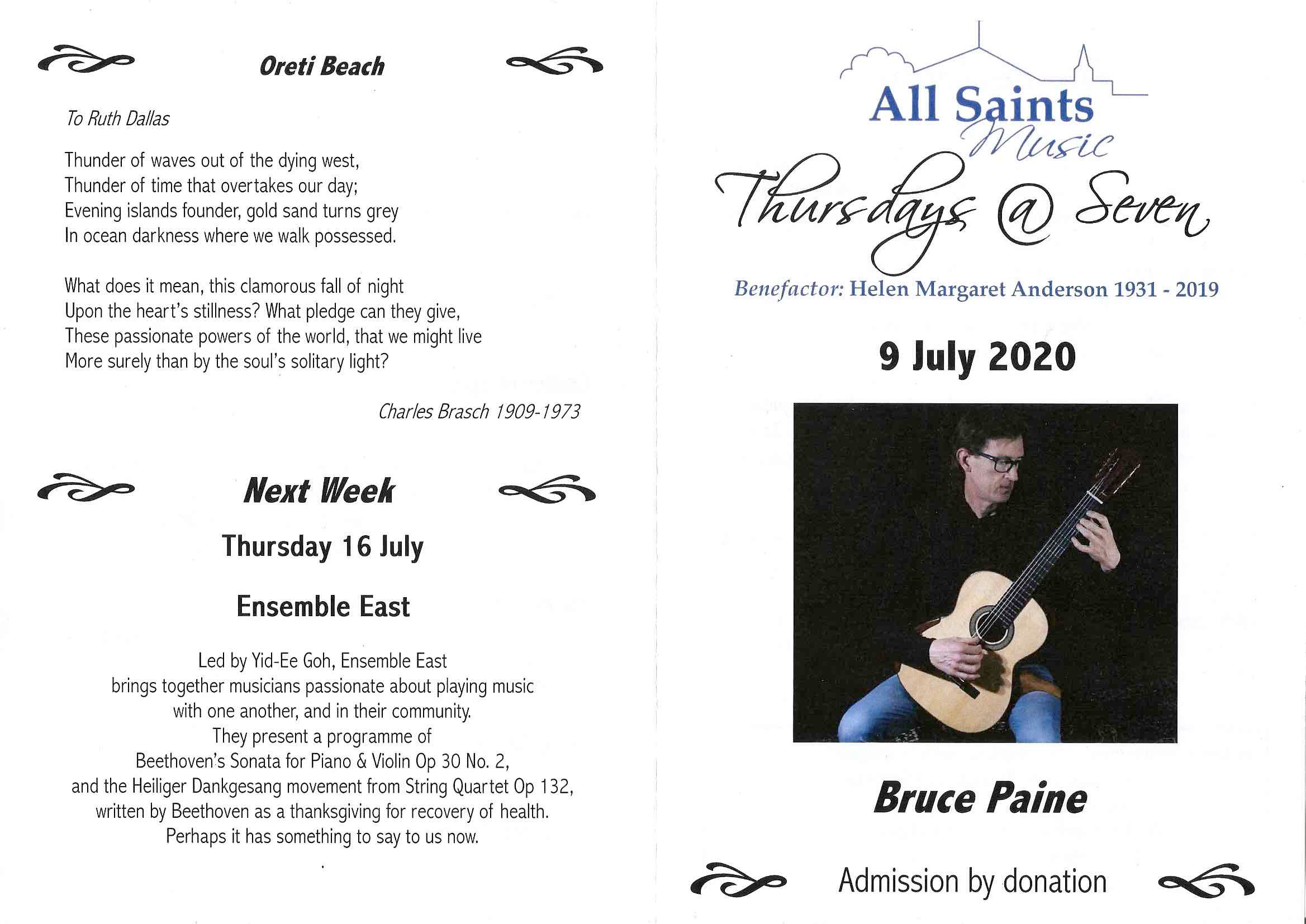 Bruce Paine, Howick Concert, July 9th 2020